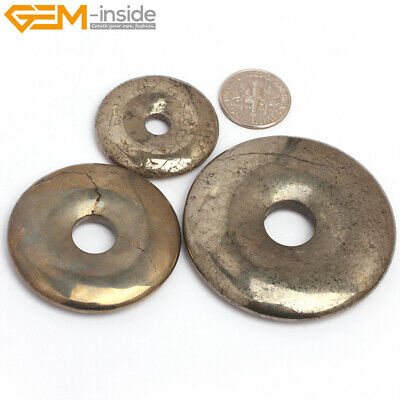 Natural Stone Pyrite Beads For Jewelry Making Donuts Beads 30/40/50mm 1 Piece