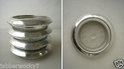 Set of 4 Glass Coasters w/Sterling Rim #04 - Frank M Whiting from 1950's 1959