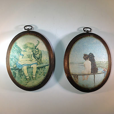 Vintage Pair of Oval Sand Art Pieces of a Girl and her Cats and a Boy and Dog