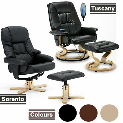 NEW LEATHER SWIVEL RECLINER CHAIR w FOOT STOOL ARMCHAIR HOME OFFICE