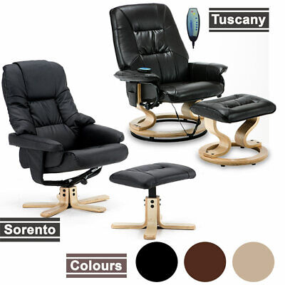 NEW REAL LEATHER SWIVEL RECLINER CHAIR w FOOT STOOL ARMCHAIR HOME OFFICE