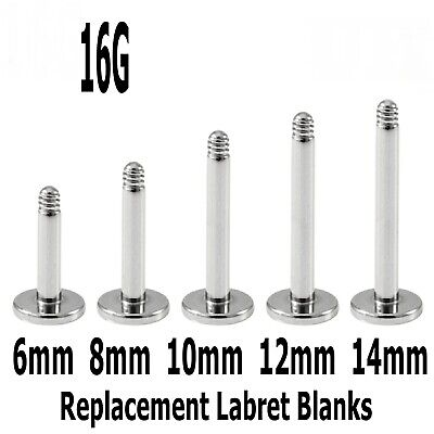5 Spare Surgical Steel Labret Monroe Earring Lip Tongue Body Piercing Blanks 16g