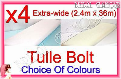 4 x Extra-wide (2.4m x 36m) Soft Wedding Tulle Bolt Fabric Roll Drape Swag Bow