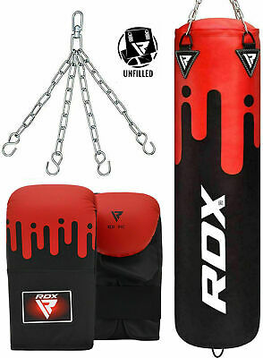 RDX 5ft Unfilled Heavy Punching Bag Boxing Set With Gloves Chain MMA Training C