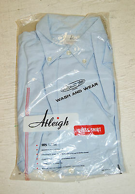 NOS NWT Vintage Mens 50's 60's Blue Button Casual Dress Shirt by Atleigh Small