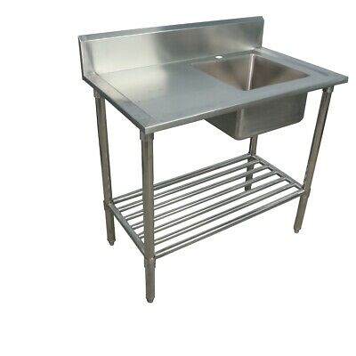 1000x600mm NEW COMMERCIAL SINGLE BOWL KITCHEN SINK #304 STAINLESS STEEL BENCH E0