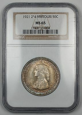 1921 Missouri Half Dollar Commemorative 2*4 NGC MS-65 Gem Coin Lightly Toned