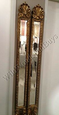"Set 2 Narrow Baroque Wall Mirrors Antique Gold 60""H Accent Patina Pair Horchow"