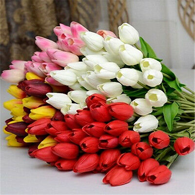Artifical Latex Tulip Flowers Bridal Bouquet Home Wedding Valentine's Day Decor