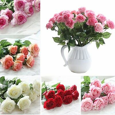 10-20 Head Real Touch Latex Rose Flowers For wedding Bouquet Decoration 14Colors
