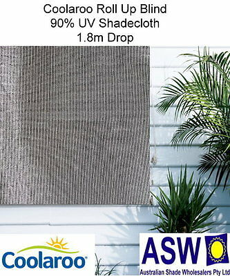 1.8m wide Coolaroo ROLL UP BLIND 1.8m drop MONTECITO 90% UV Shadecloth Shade