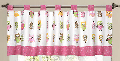 Window Valance Curtain Sweet Jojo Designs Pink Modern Forest Owl Theme Bedding