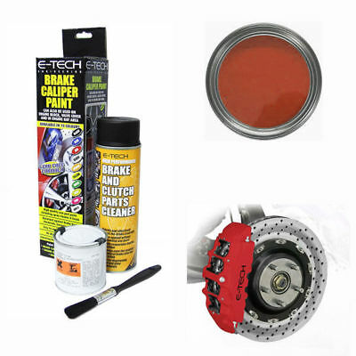 E-Tech Brake Caliper Engine Paint Kit - Paint, Cleaning Spray + Brush - Matt Red