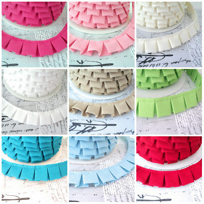 BY THE 25M R0LL - BOX PLEAT - GATHERED TRIM FABRIC RIBBON edging cotton pleated