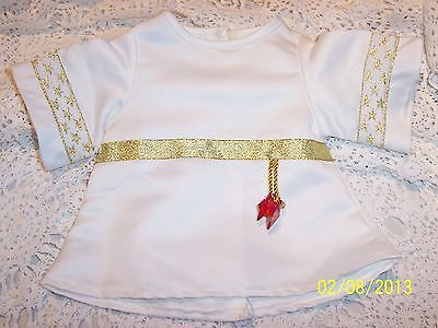 ABSOLUTELY STUNNING WHITE BEAR FACTORY CAFTAN STYLE DRESS with Gold Trim