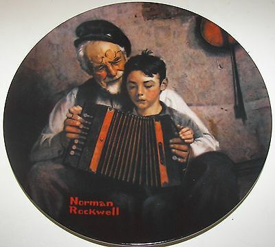 Knowles Norman Rockwell The Music Maker Collector Plate - Paper, COA, Box