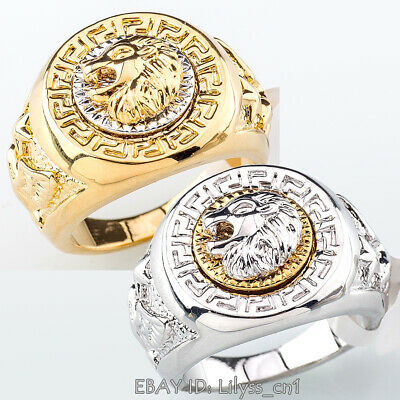 A1-R069 Men's Signet Ring Cool Lion Head Eagle Star 18KGP Size 7-15