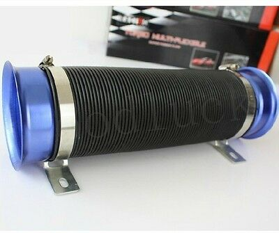 "3"" Cold Air Intake Feed Flexible Duct Pipe Induction Kit Filter In Blue"
