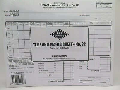 Zions No 22 Time and Wages Sheet Hotel and Other Classes of Employee (100pk) 22