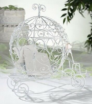 New wedding white fairy tale princess heart coach carriage card post box holder