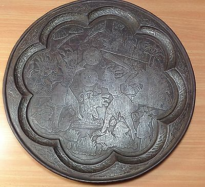Antique Oriental Islamic Iron Tray 19th Century Handmade Engraved Collectible