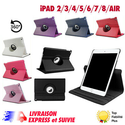 Housse Coque Etui Cuir Pu Ipad 2/3/4/5/6 Air Ipad Mini Rotative 360+Stylet+Film