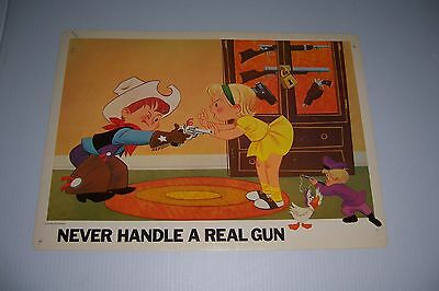 """1967 Disney Home Safety Poster Never Handle A Real Gun 18""""x13"""" #105-D"""