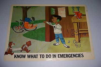 1967 Disney Home Safety Poster Know What To Do In Emergencies 18X13 Chip & Dale