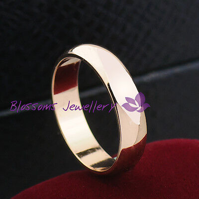 0690 18K Rose GOLD GF 4MM Plain WEDDING BAND Anniversary ENGAGEMENT RING SOLID