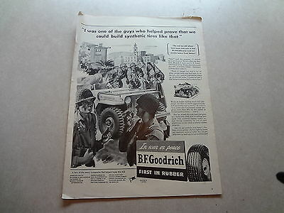 """1943 B.F. Goodrich Tires Vintage Magazine Ad """"I was one of the guys who helped."""""""