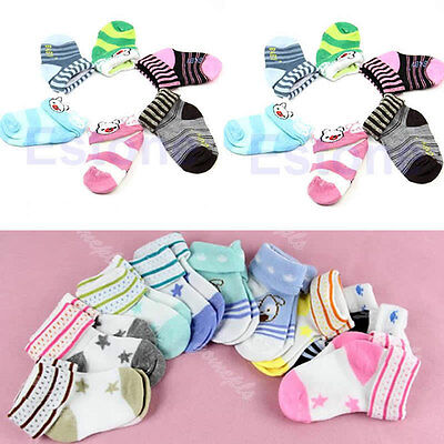 1/5/10pcs Warm Cartoon Baby Toddler Non-slip Booties Anklet Shoes Ankle Socks