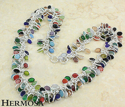 """65% OFF 925 Sterling Silver RAINBOW Coral,Peridot,Chalcedony,Agate Necklace 20"""""""