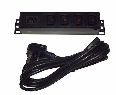 4 way IEC C13 Distribution Splitter Box / PDU + Removable 3m Lead UK Plug