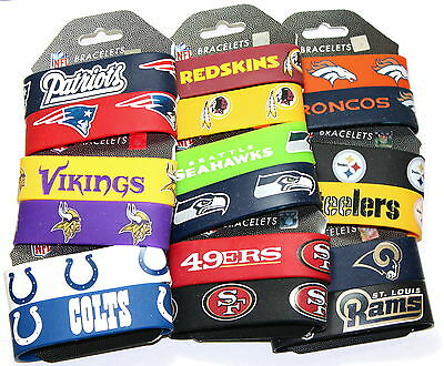 NFL Football Silicone Rubber Bracelet Wrist Band Cuffs, Officially Licensed