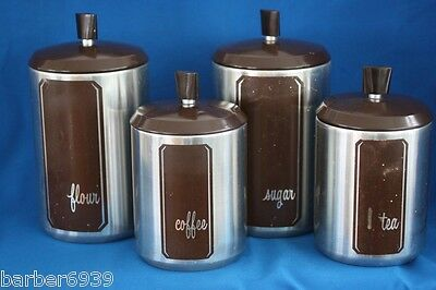VINTAGE WESTBEND 4 PC ALUMINUM CANISTER SET WITH BROWN ACCENT~USA