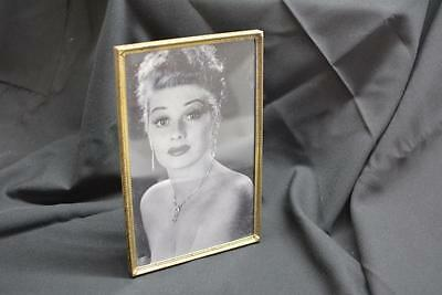 Regency Mid-Century Vtg Antique Brass Metal Lucille Ball PICTURE FRAME Easel Old