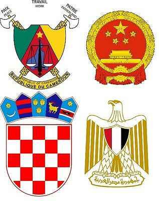 National Emblems and Royal Coat of Arms A5 or A4. iron on T-shirt Transfer *B-E*