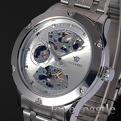 New Silver Skeleton Analog Mens Mechanical Automatic Wrist Steel Band Watch W071