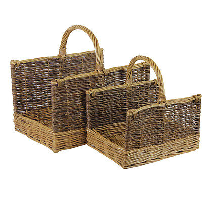 JVL Set of 2 Rectangular Two Tone Log Storage Baskets with Handles Home Fire