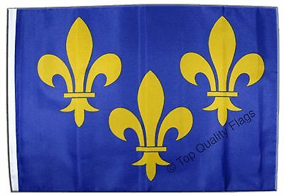 """France Île-de-France coat of arms with lily Banner 30x45cm – 18""""x12"""" Small Flag"""