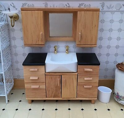 Vanity Sink Unit Dolls House Miniatures, Basin Bathroom 1/12 Scale