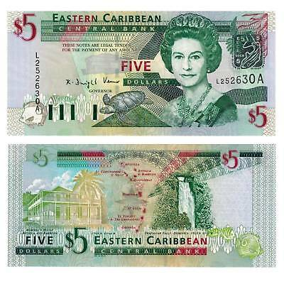 East Caribbean States Antigua 5 Dollars 2003 ND Unc.Pick:42a #