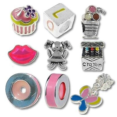 Beads and Charms for European Charm Bracelets Pink Stoppers Crayon Girls School