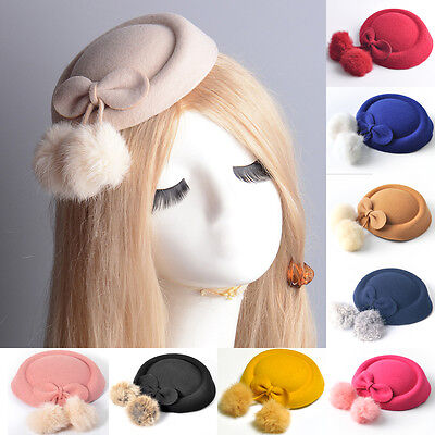 9colors vintage women dress pillbox hat fascinator hair clip accessory bow party