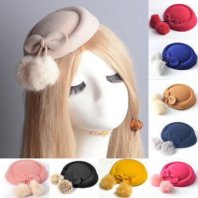 vintage lady women dress pillbox hat fascinator hair clip accessories bow party