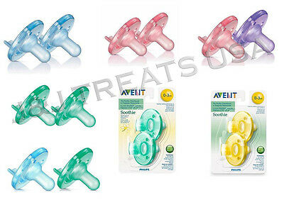 2 x Philips Avent Soothie Pacifier ALL SIZES & ALL COLORS - Your Choice - USA