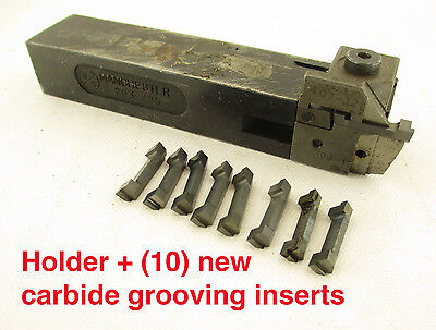 "Manchester Indexable Lathe Tool Holder & (10) New Grooving Inserts - 1"" Shank"