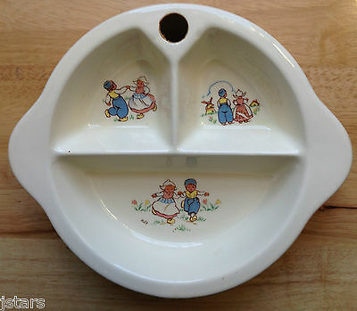 1943 LITTLE DUTCH KIDS GIRL BOY CHILD'S WARMING DISH, EXCELLO, POTTERY, DATED