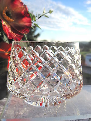"Stuart Crystal Bowl 4"" CROSS CUT Signed Posy Bowl Dressing Table Bowl A Gift"