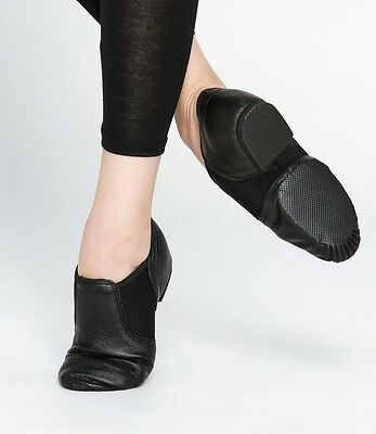 Jazz Dance Shoes Black and Tan Leather Elastaboot Unisex $30 - $35 Brand new